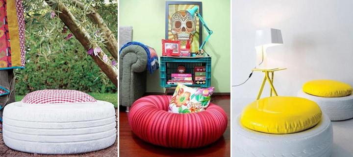 decoraci n con neum ticos reciclados. Black Bedroom Furniture Sets. Home Design Ideas