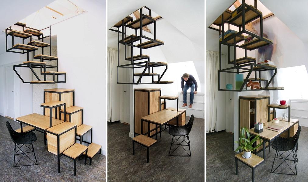escalera y escritorio