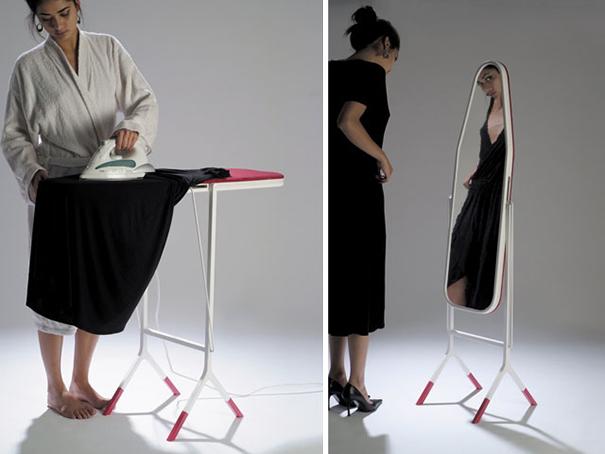 espejo y tabla de planchar