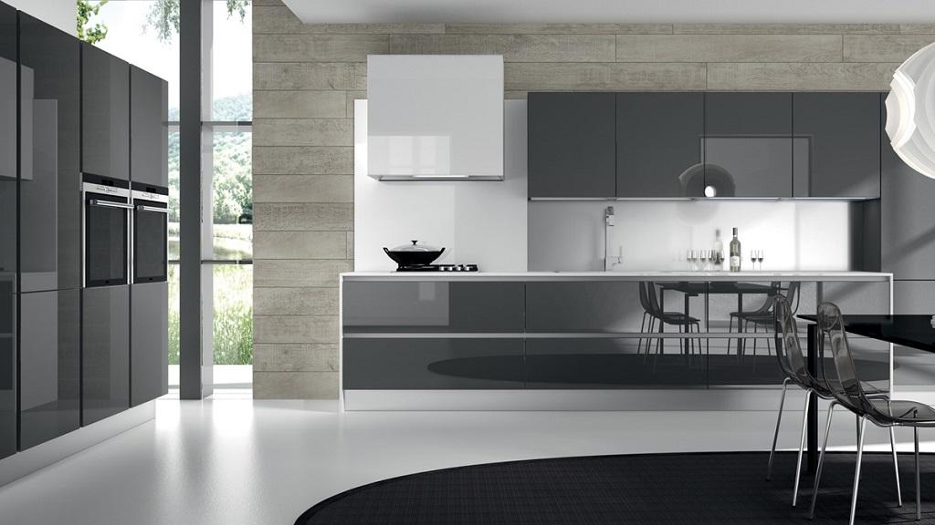 Muebles de cocina madera y vidrio for Muebles de cocina con puertas de cristal