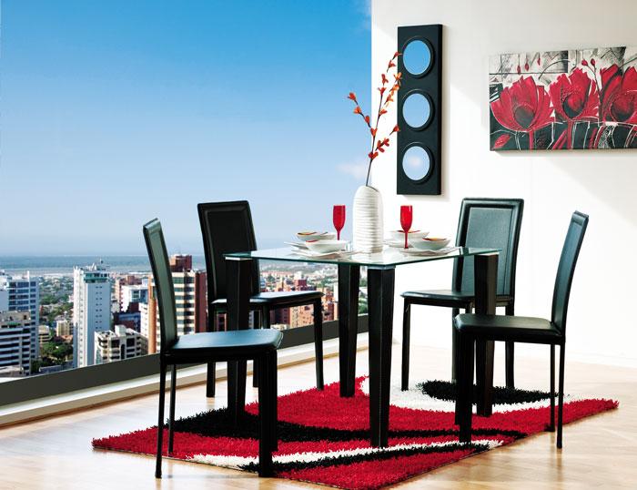 Muebles jamar juego de comedor moderno de 4 puestos arturo for Juego comedor moderno