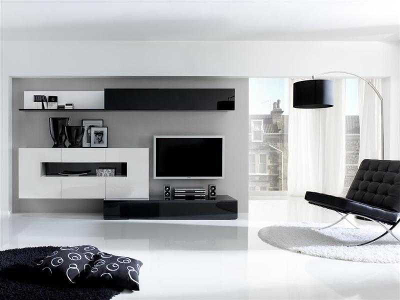 Ambientes en blanco y negro - Pintar salones modernos ...