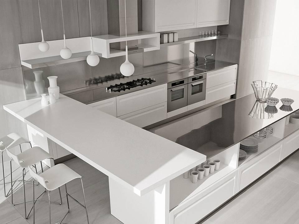 Cocinas con barra para desayunar Cocinas pequenas modernas con barra