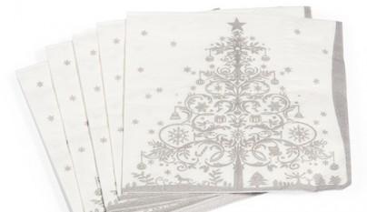 Coleccion Antiguo Servilleta arbol de navidad silver