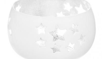 Coleccion Nordica Portavelas Estrellas blanco y plateado