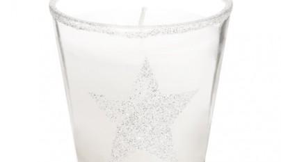 Coleccion Nordica Vela cristal Estrella plateada