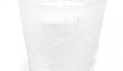 Coleccion Nordica Vela escarchada y copos blancos