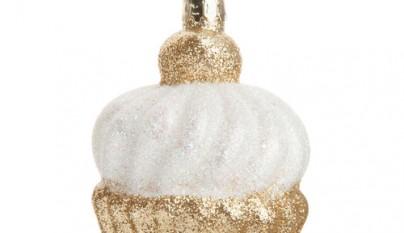 Coleccion Romantico Cupcake chantilly y dorado para arbol de navidad