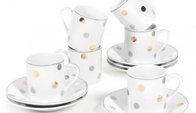 Coleccion Romantico Juego de 6 tazas y platillos Confetti festivo