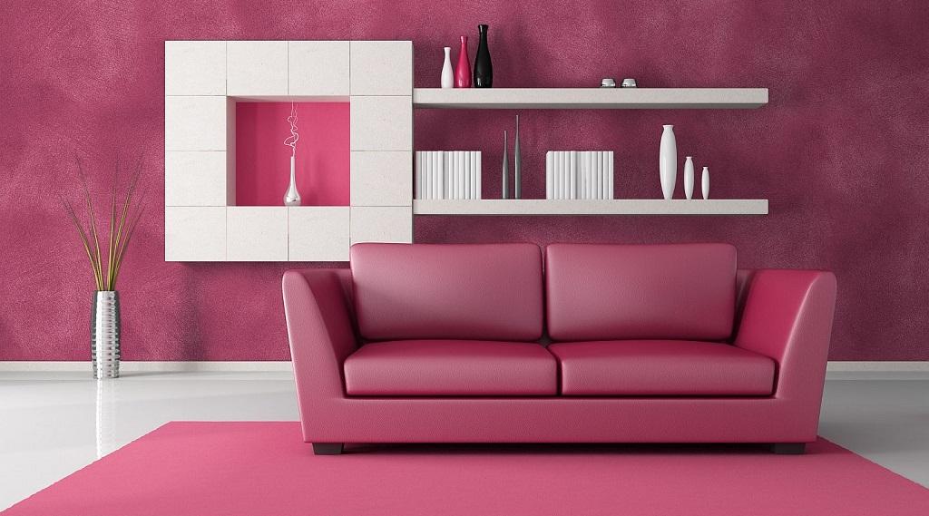 salon rosa con sofa rosa