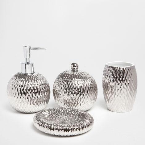 Accesorios de bano plateados for Zara home accesorios bano