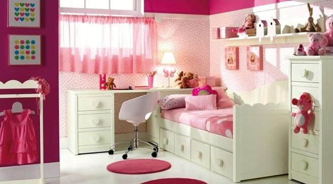 Dormitorios infantiles en blanco y rosa - Decoracion habitacion rosa ...