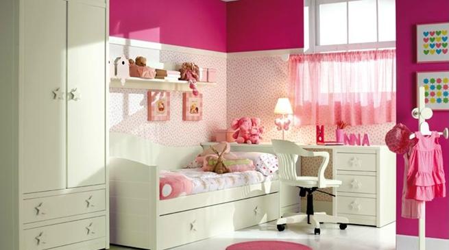 Dormitorio rosa y blanco6 - Dormitorio infantil blanco ...
