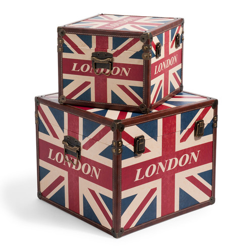 juego de 2 baules london flag box. Black Bedroom Furniture Sets. Home Design Ideas