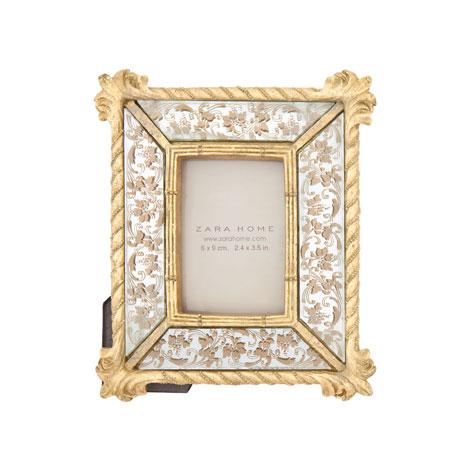 Marco dorado y espejo for Espejo marco dorado