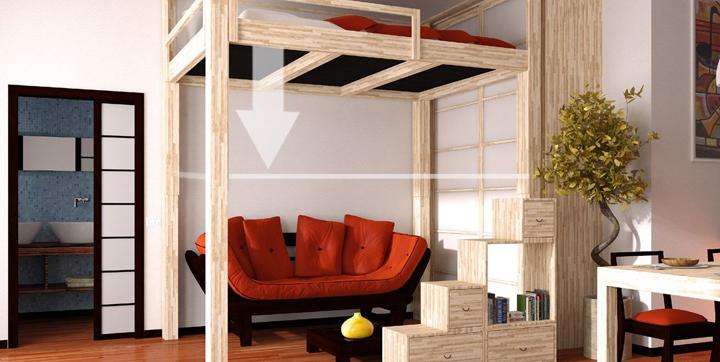 Camas altas para ganar espacio - Escaleras para camas altas ...