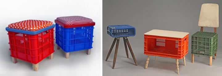 Muebles con objetos reciclados for Muebles plastico jardin