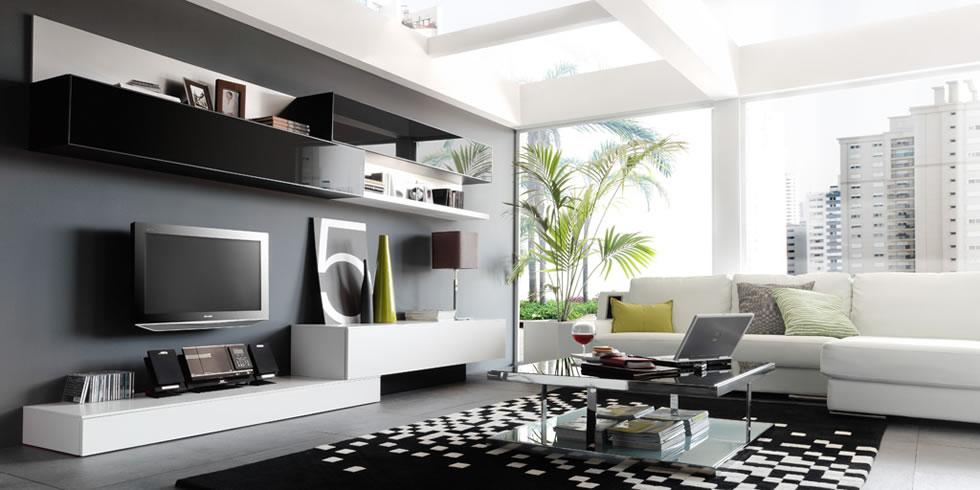Salones modernos9 - Salones blanco y gris ...