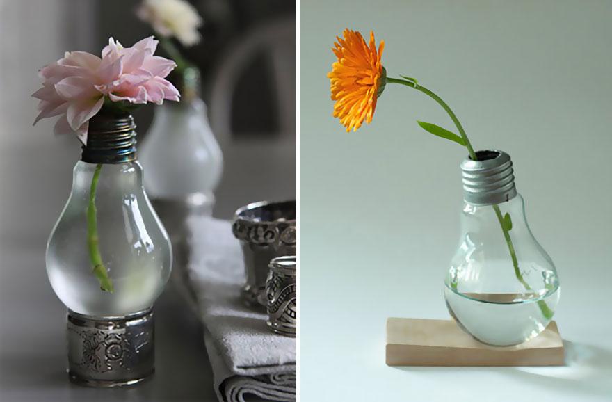 Ideas para reciclar bombillas viejas for Reciclar estanterias viejas