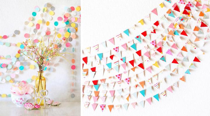 como hacer guirnaldas y pompones de papel para una fiesta