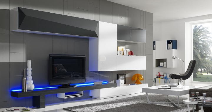 Muebles de sal n con luces led for Espejos decorativos conforama