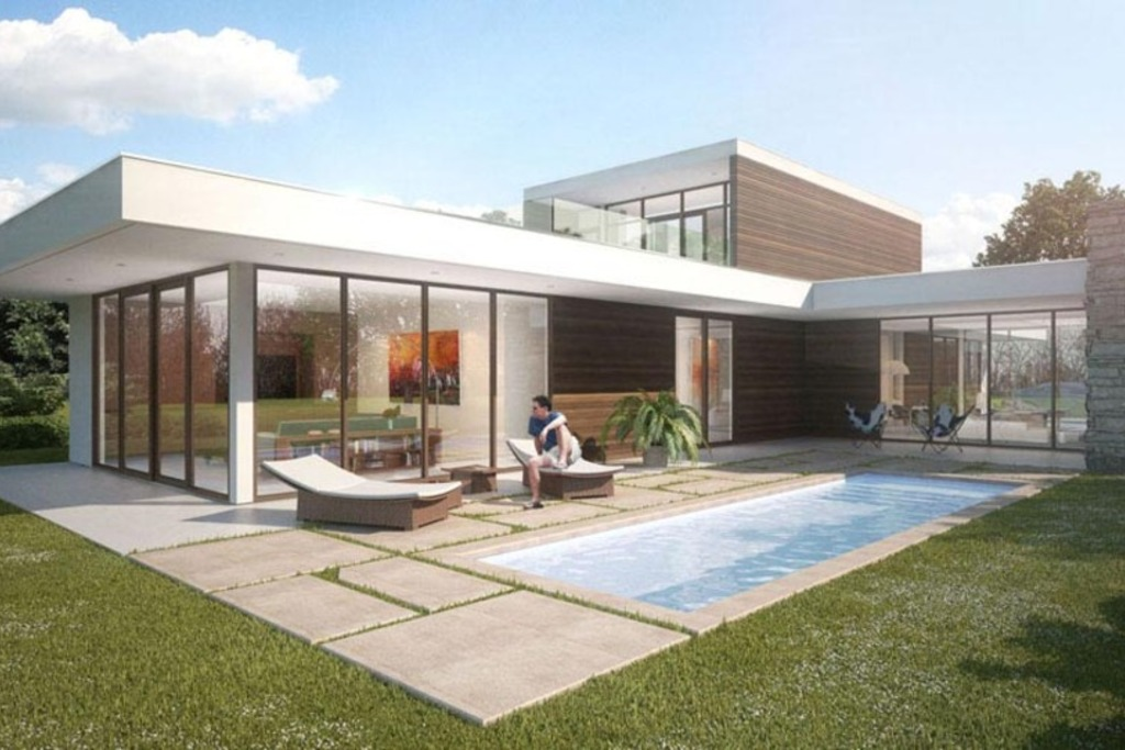 Casa de dos plantas fachada de cristal1 for Fachadas para casas de dos plantas