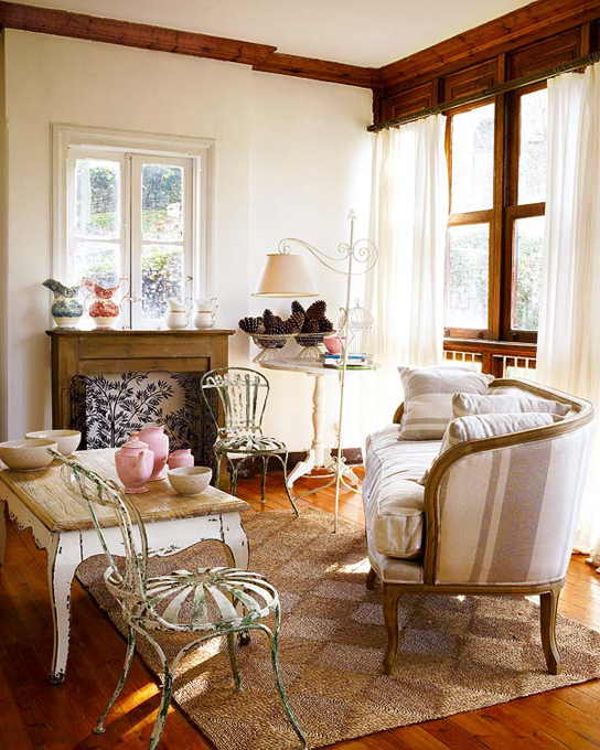 Baños Estilo Cottage:Rustic Living Room Design Ideas