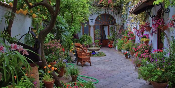 Ventanas balcones macetas maceteros patios del mundo for Decoracion de patios con macetas