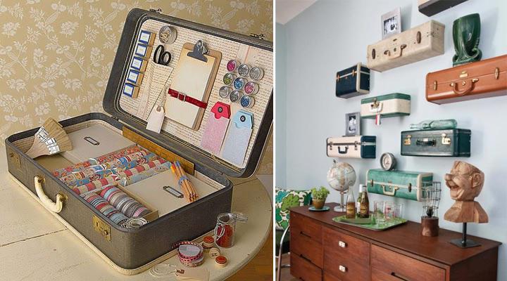 decoracion con maletas viejas