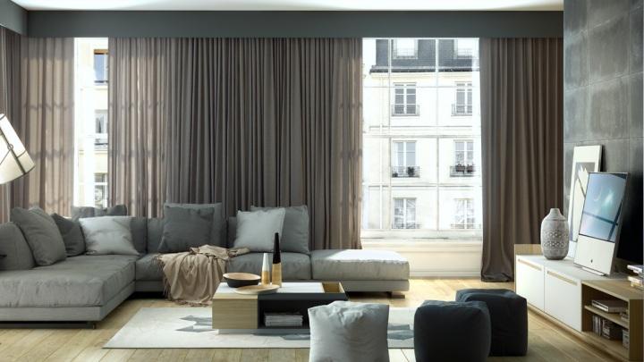 Tipos de cortinas for Cortinas cortas salon