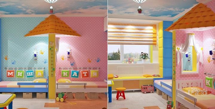 C mo decorar un dormitorio compartido por un ni o y una ni a - Habitacion para 2 ninos ...
