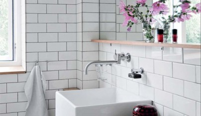 Fotos de ba os de estilo n rdico for Carrelage brique blanche