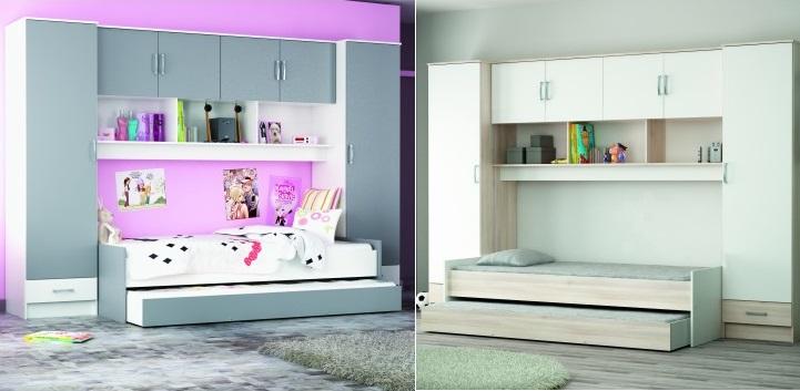 dormitorios juveniles con cama puente