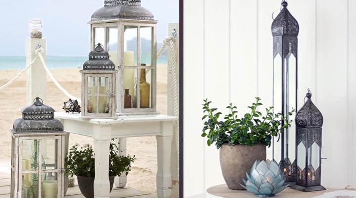 Ideas para decorar con faroles y farolillos - Portavelas grandes ...