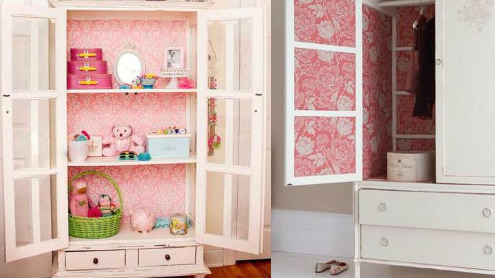 Decoraci n con armarios empapelados for Como empapelar un mueble