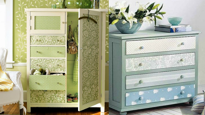Decoraci n con armarios empapelados - Como decorar un mueble con papel pintado ...