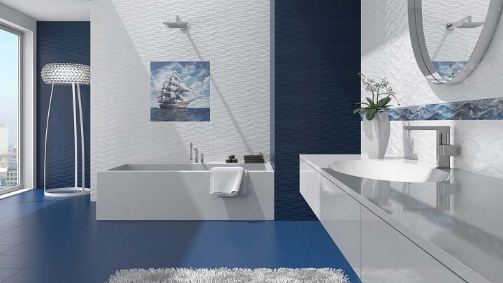 bano azul blanco foto