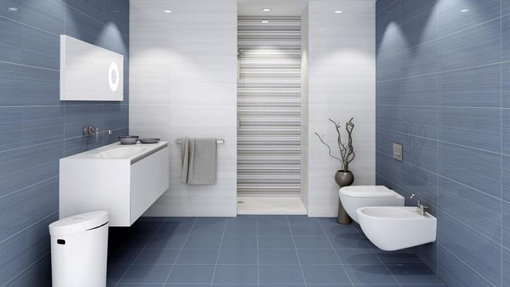 cuartos de ba o en azul y blanco