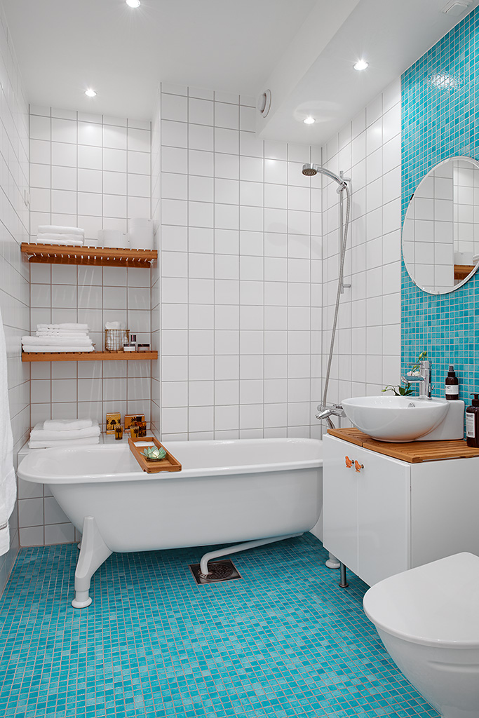 Baño Blanco Bizcocho:Blue Bathroom Floor Tile Ideas