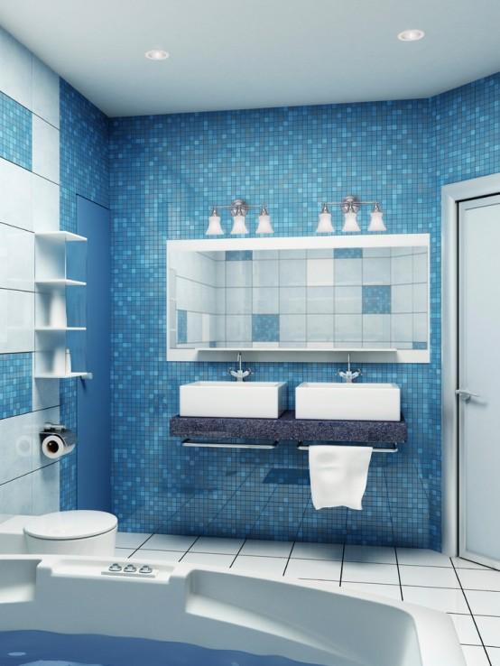 Bano azul blanco33 - Banos en azul y blanco ...