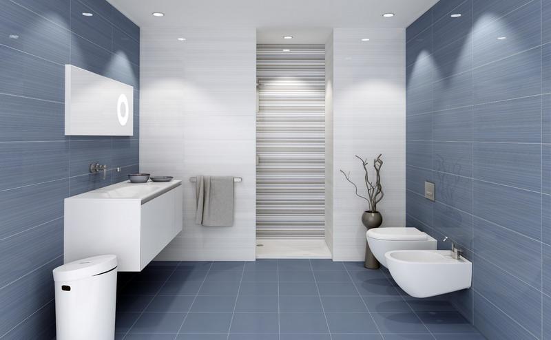 Bano azul blanco5 - Banos con azulejos azules ...