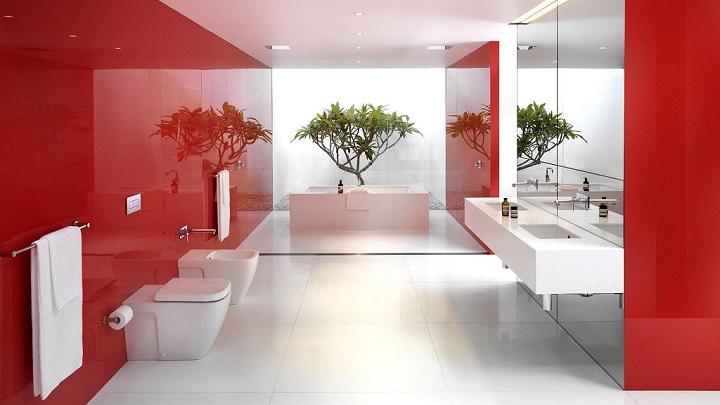 Baño Blanco Con Rojo:Cuartos de baño en rojo y blanco