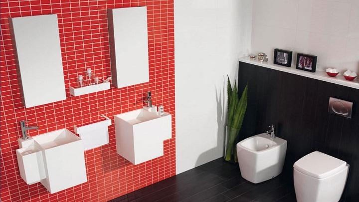 Cuartos de ba o en rojo y blanco for Cuarto negro y rojo