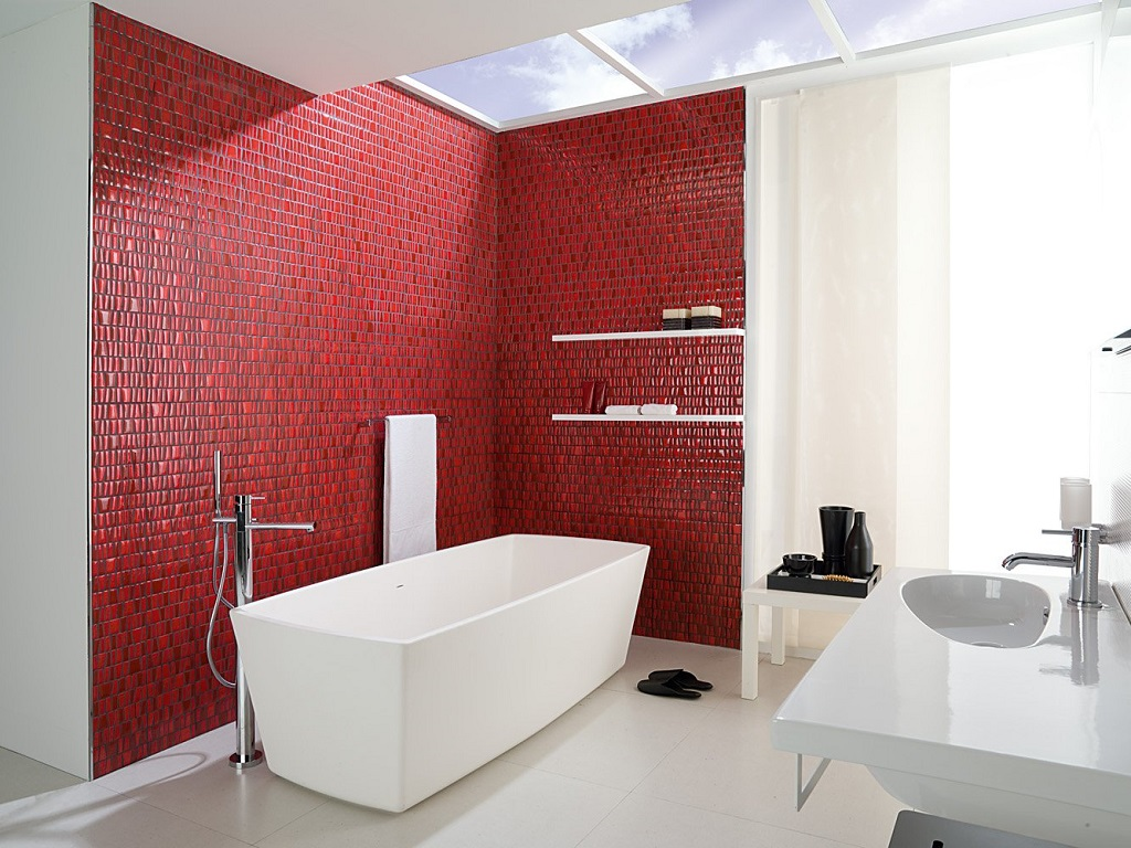 Baño Pintado De Rojo:Cuartos Rojo Y Blanco : Cuartos de baño en rojo y blanco fotografía