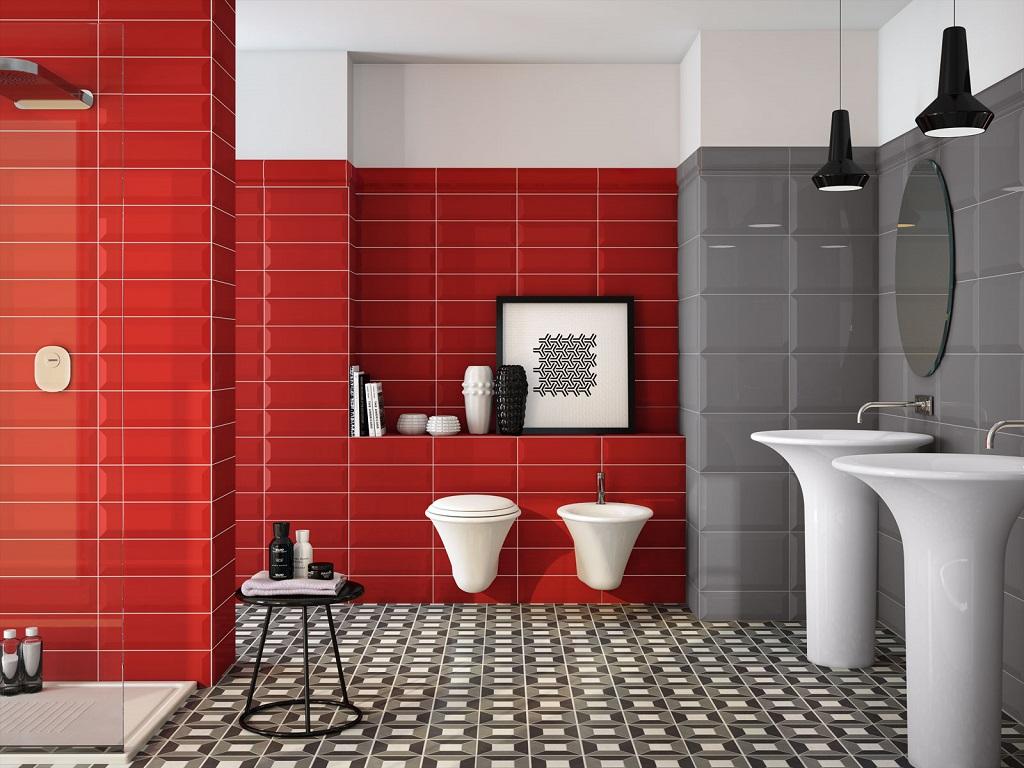Baños Blanco Con Rojo:blanco y rojo bano23