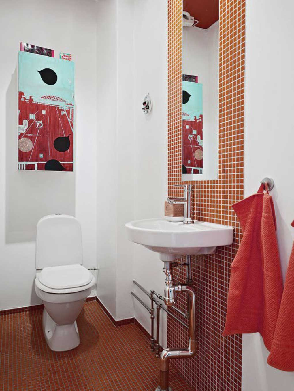 Baños Rojo Con Blanco:Simple Bathroom Design Ideas