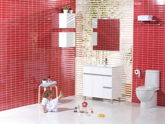 Blanco y rojo bano9 - Cuartos de bano prefabricados ...