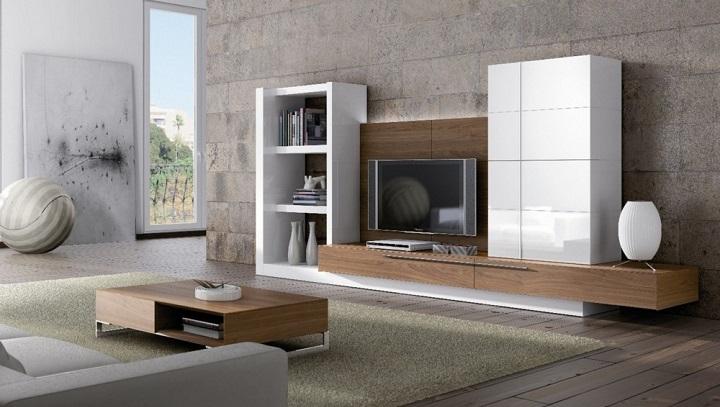 Muebles lacados de dise o for Mueble salon blanco y nogal
