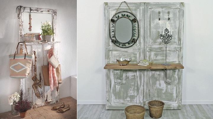 Ideas para decorar el recibidor con reciclaje for Puertas recicladas