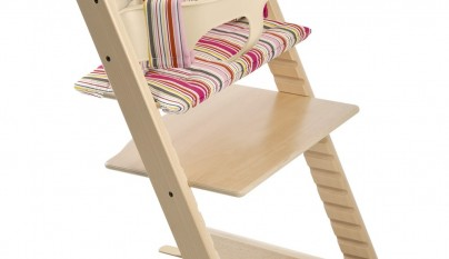 Tripp Trapp® with Baby Set and Candy Stripe cushion.